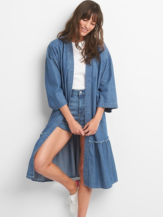 Embroidered Denim Duster Jacket by Gap