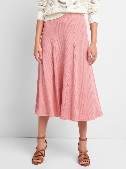 Ribbed Softspun Flare Midi Skirt by Gap