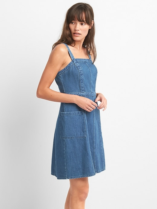 Fit And Flare Square Neck Dress In Denim by Gap