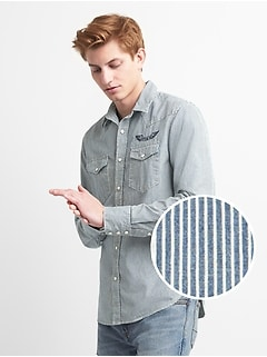 Slim Fit Western Denim Shirt