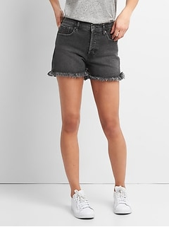 "High Rise 3"" Denim Shorts with Raw Hem"