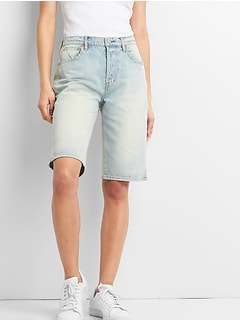 "Washwell High Rise 12"" Denim Bermuda Shorts"