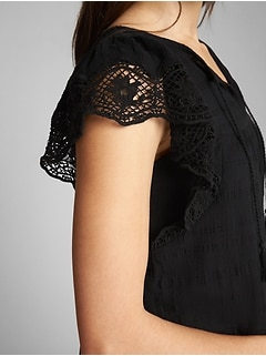 Short Sleeve Flutter Crochet Smock Top