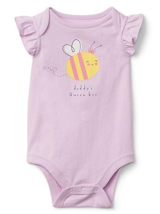 Gap Baby Flutter Sleeve Graphic Bodysuit Dad Size 0-3 M