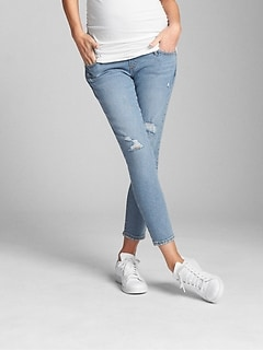 Maternity Full Panel True Skinny Crop Jeans in Destructed