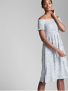 Softspun Smocked Off-Shoulder Dress