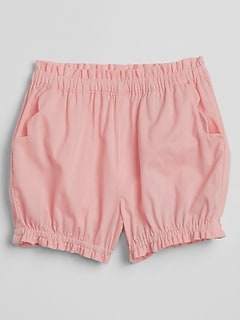 Scalloped Bubble Shorts in Poplin