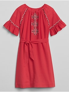 Embroidery Tie-Belt Dress