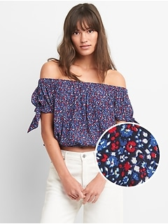 Floral Tie-Sleeve Off-Shoulder Top