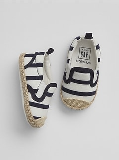 Stripe Espadrille Slip-On Shoes