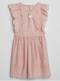 Eyelet Ruffle Tassel Dress