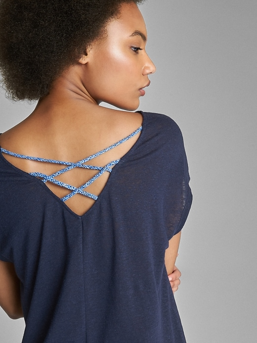 Short Sleeve Braided Back Top In Linen by Gap