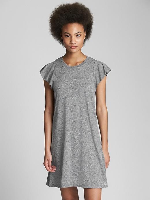 Gap Womens Softspun Flutter Sleeve Swing Dress Light Grey Marle Size XL