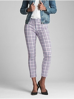 Gingham Skinny Ankle Pants
