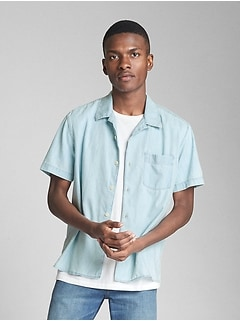 Short Sleeve Camp Shirt in Denim