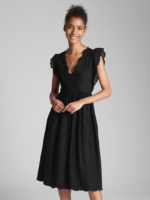 Gap Womens Midi Eyelet Dress True Black Size S Petite