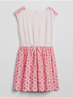 Eyelet Mix-Fabric Dress