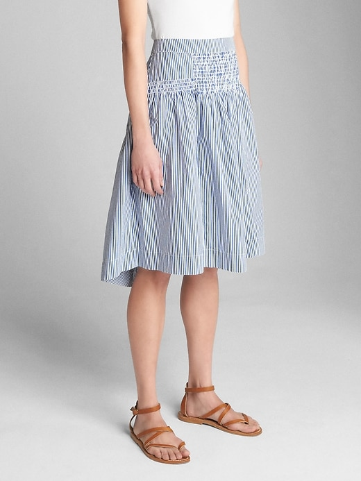 High Rise Stripe Smocked Skirt by Gap
