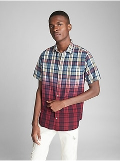 Short Sleeve Dip-Dye Plaid Shirt