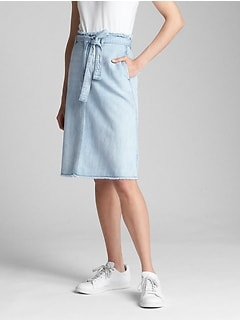 Belted A-Line Denim Skirt
