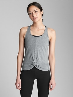 GapFit Breathe Rib Knot-Front Tank Top