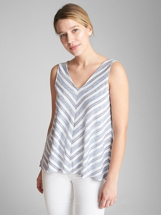 Softspun Stripe V Neck Tank Top by Gap