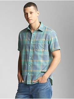 Short Sleeve Utility Shirt in Madras Plaid
