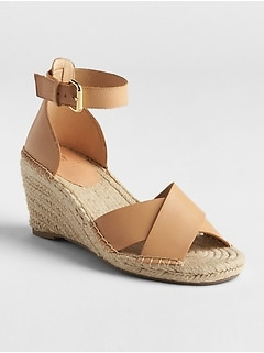 Crossover Strap Espadrille Wedges
