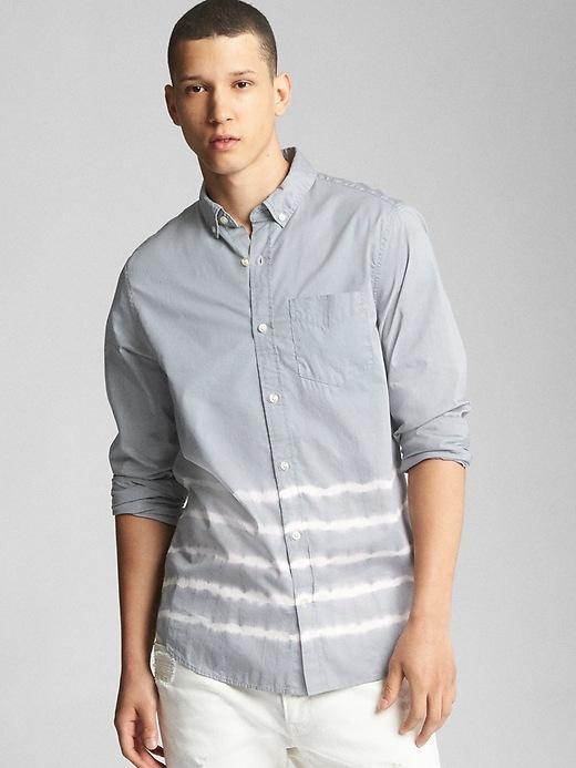 Gap Mens Dip-Dye Standard Fit Shirt In Poplin Antique Pewter Size L Tall