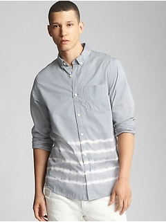 Dip-Dye Standard Fit Shirt in Poplin