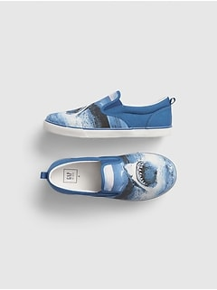 Shark Graphic Slip-On Sneakers