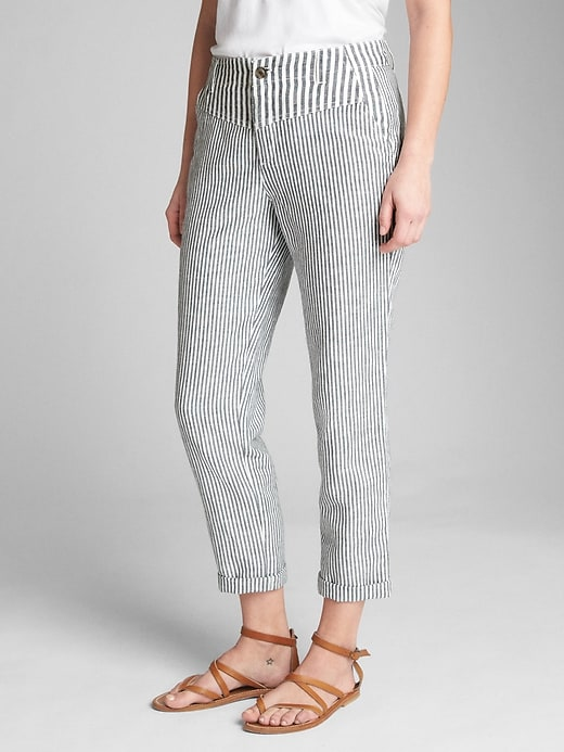 Stripe Girlfriend Chinos In Linen Cotton by Gap
