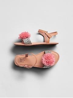 Glitter Pom Sandals