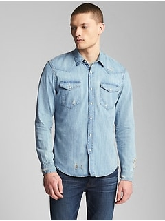 Distressed Denim Western Shirt in Slim Fit