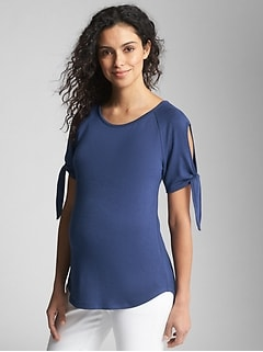 Maternity Softspun Tie-Sleeve Top