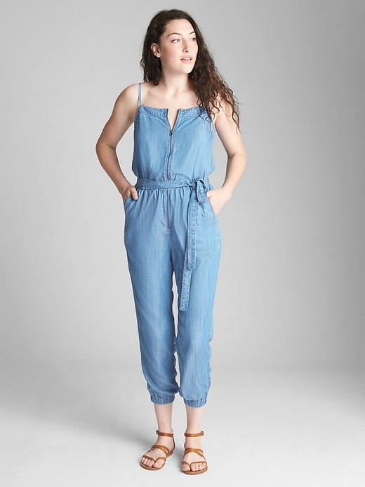 Zip Front Cami Jumpsuit In Tencel™ by Gap