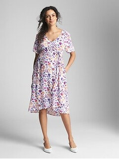 Maternity Floral Short Sleeve Wrap Dress