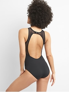 GapFit High-Neck Mesh One-Piece Suit