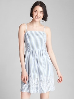 Stripe Eyelet Cami Fit and Flare Dress