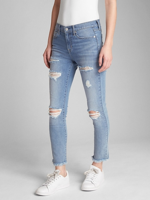 Mid Rise True Skinny Ankle Jeans With Destruction by Gap