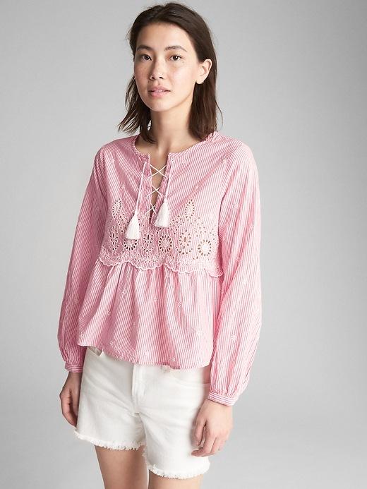 Gap Womens Long Sleeve Stripe Eyelet Blouse Pink Stripe Size L