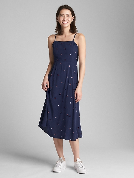Fit And Flare Print Cami Midi Dress by Gap