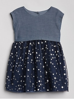 Chambray Star Mix-Fabric Dress