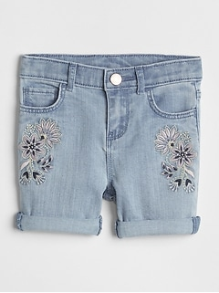 Embroidered Midi Shorts