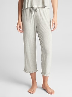 Ruffle Trim Print Lounge Pants