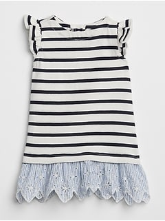 Stripe Eyelet Mix-Fabric Dress