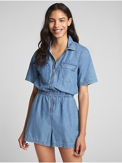 Short Sleeve Zip Denim Romper