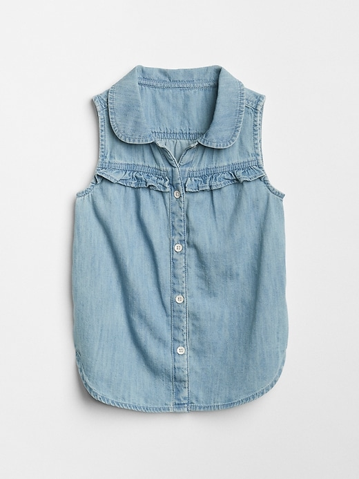 Ruffle Sleeveless Denim Shirt by Gap
