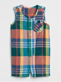 Plaid Critter Tank Shorty One-Piece