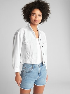 Crop Icon Denim Jacket with Distressed Detail
